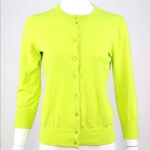 J Crew Clare Cardigan M Cotton Yellow Green Crew